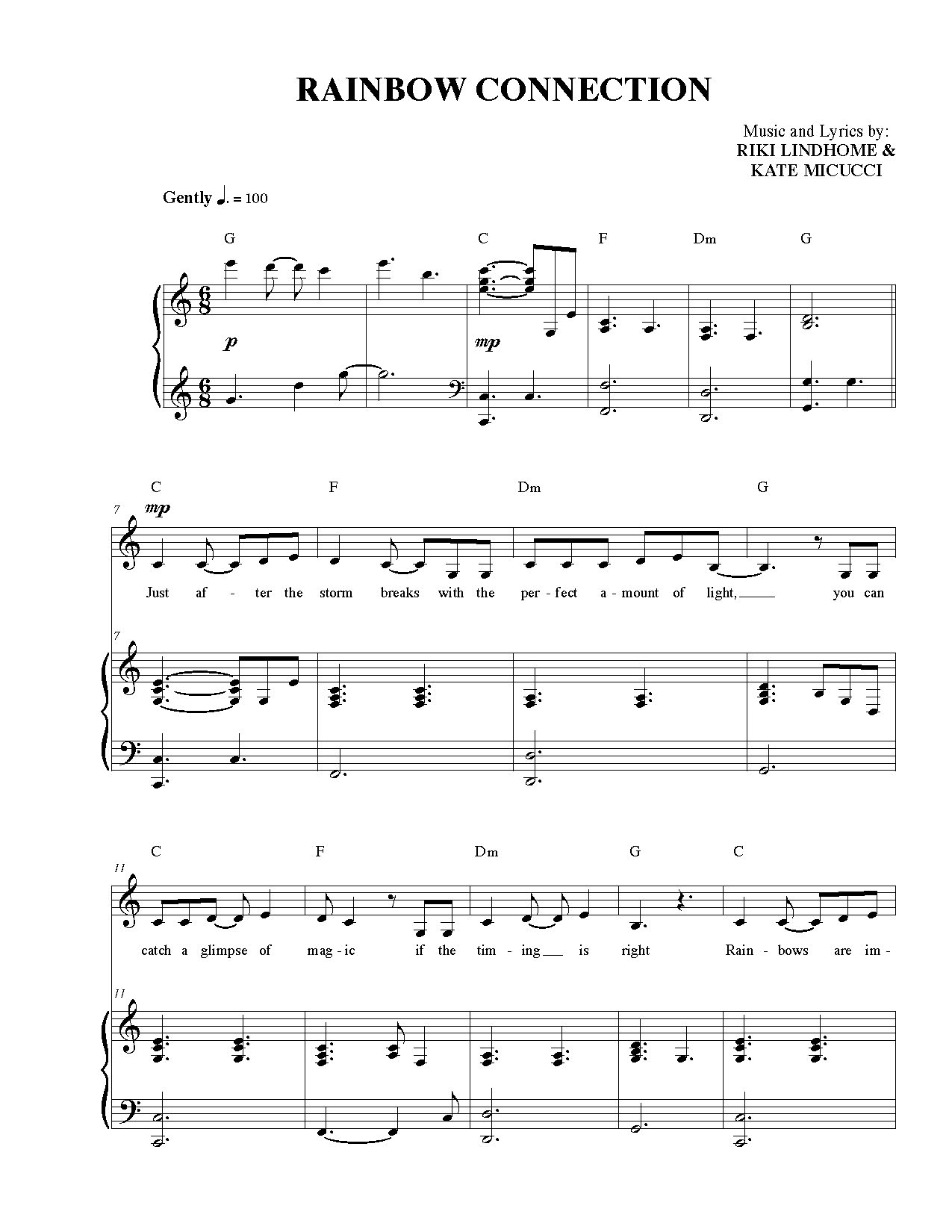 Rainbow Connection Chords Rainbow Connection Sheet Music Garfunkel And Oates