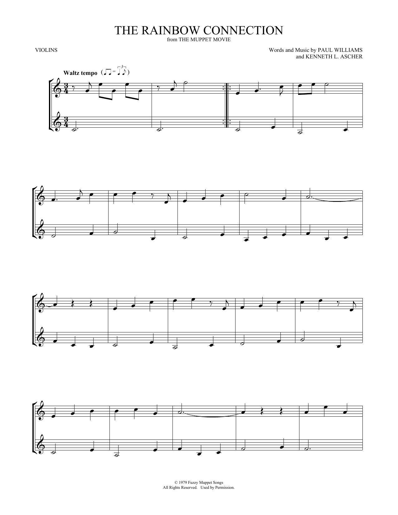 Rainbow Connection Chords The Rainbow Connection Violin Duet Print Sheet Music Now