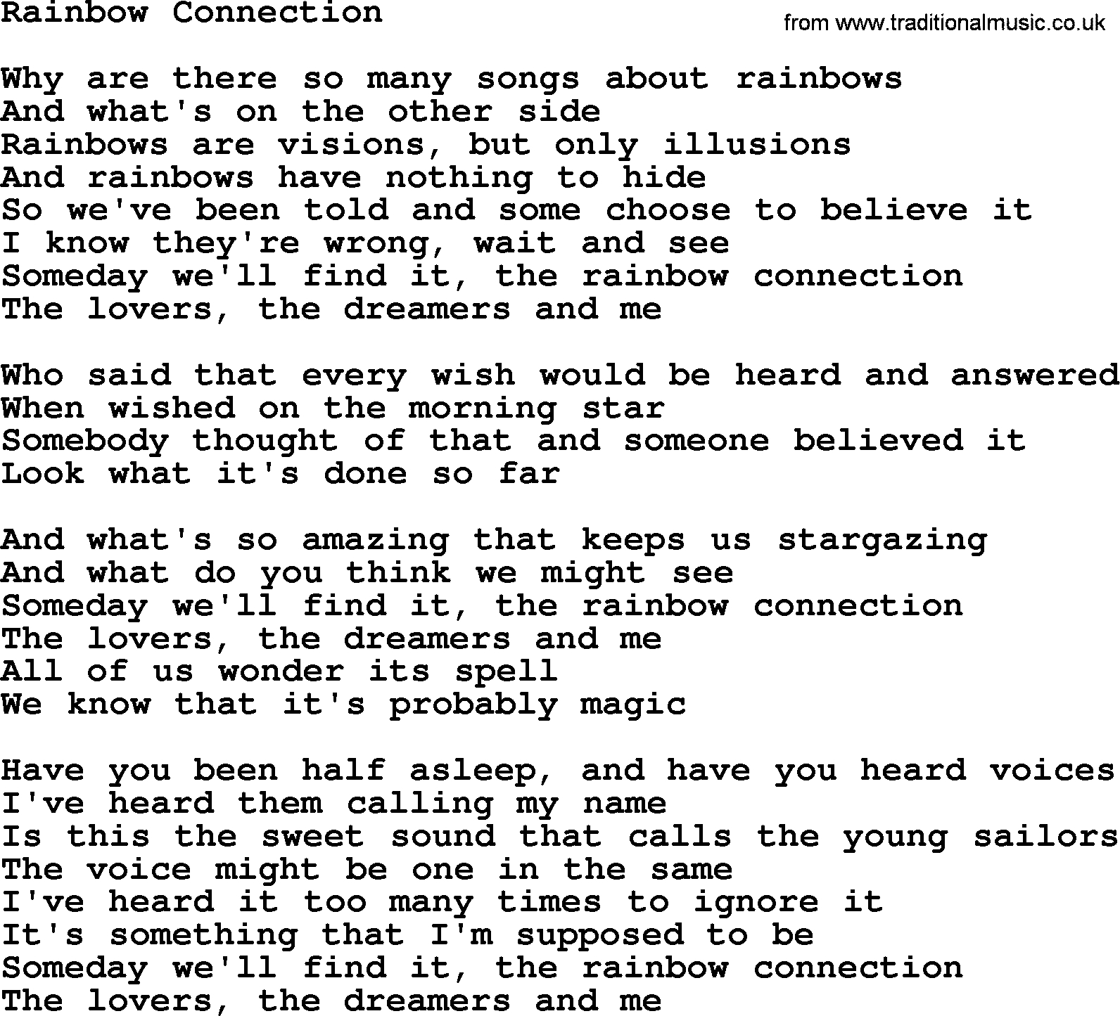 Rainbow Connection Chords Willie Nelson Song Rainbow Connection Lyrics