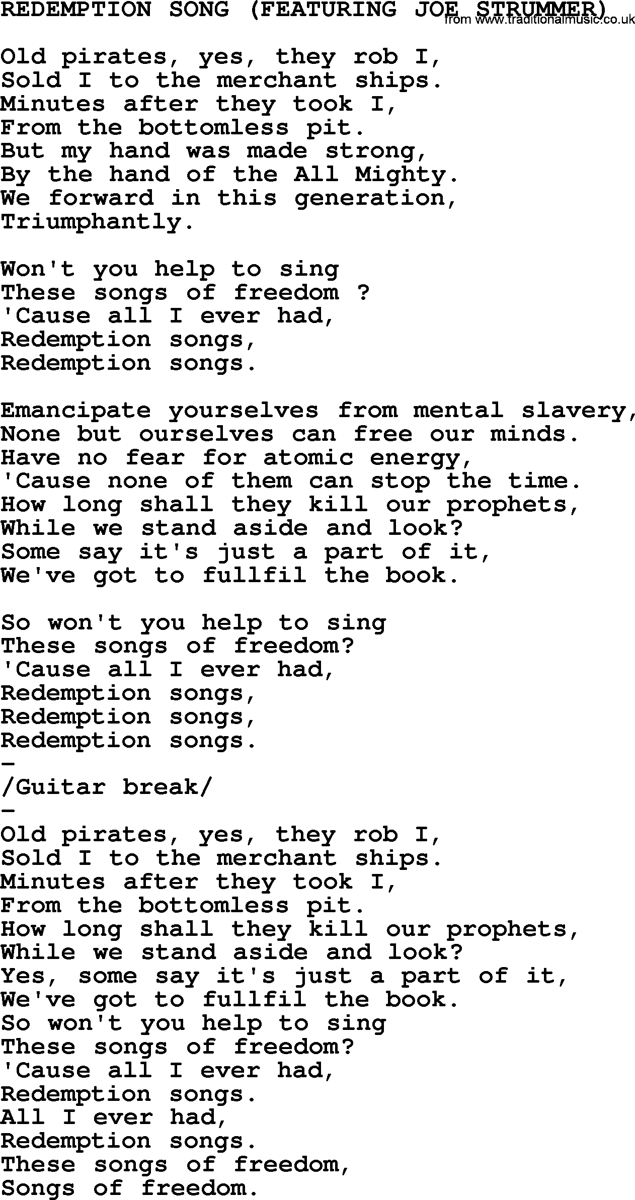 Redemption Song Chords Johnny Cash Song Redemption Song Lyrics