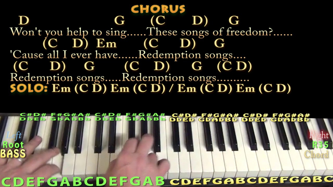 Redemption Song Chords Redemption Song Bob Marley Piano Lesson Chord Chart With Chordslyrics Arpeggios