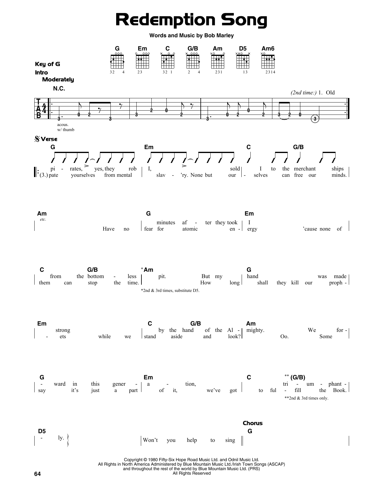 Redemption Song Chords Redemption Song Bob Marley Piano Vocal Guitar Right Hand Melody Digital Sheet Music