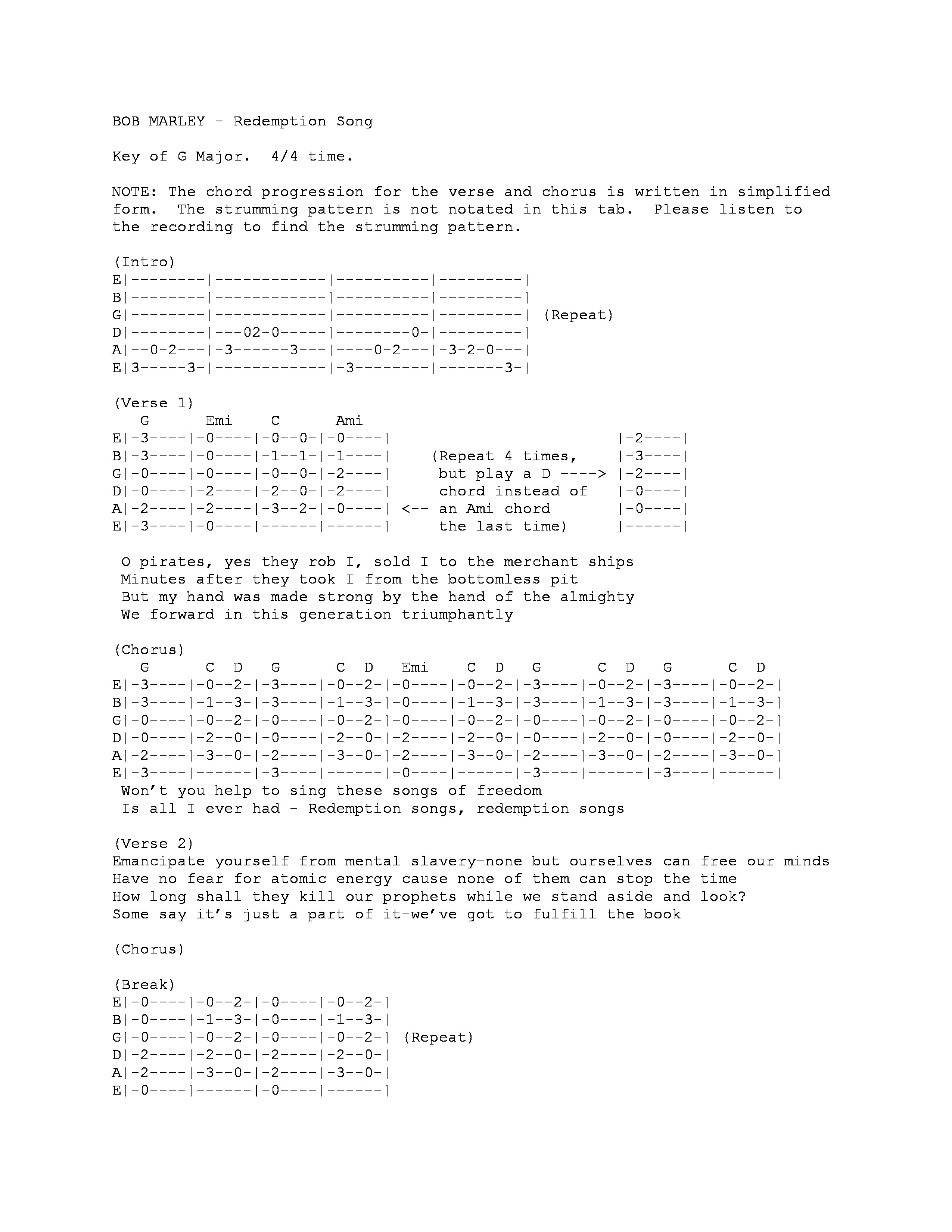 Redemption Song Chords Redemption Song Guitar Tab Stairway To Honolulu