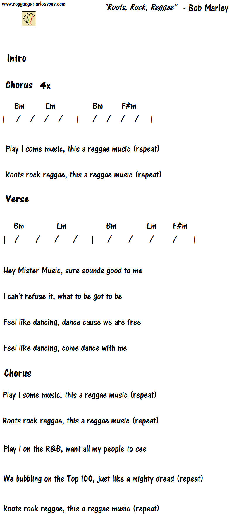 Redemption Song Chords Rootsrock Reggae How To Play Bob Marley Reggae Guitar Lessons