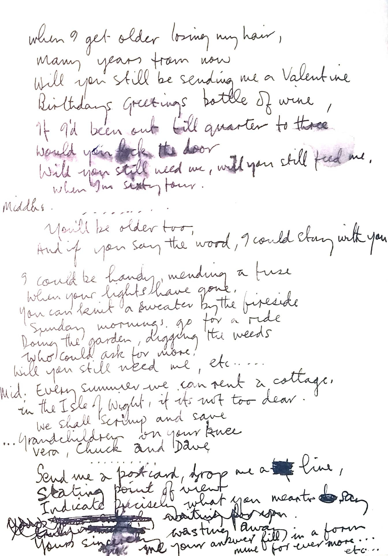 Remembering Sunday Chords When Im Sixty Four The Beatles Bible