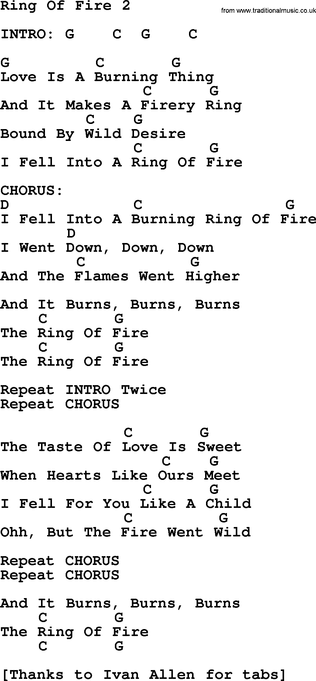 Ring Of Fire Chords Johnny Cash Song Ring Of Fire 2 Lyrics And Chords