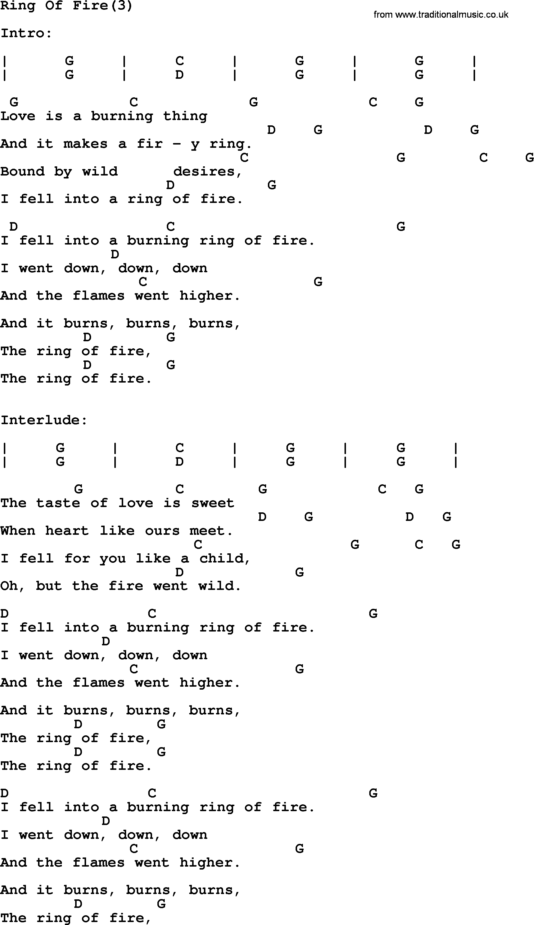 Ring Of Fire Chords Johnny Cash Song Ring Of Fire3 Lyrics And Chords