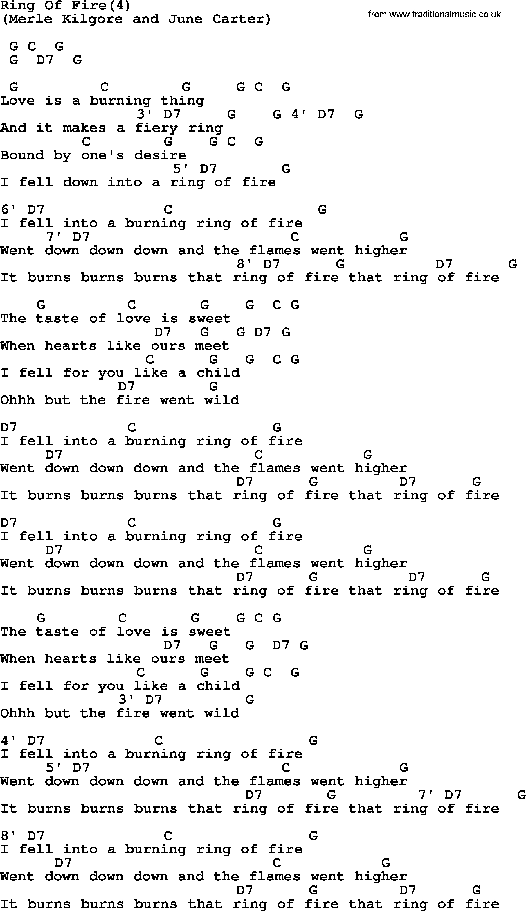 Ring Of Fire Chords Johnny Cash Song Ring Of Fire4 Lyrics And Chords