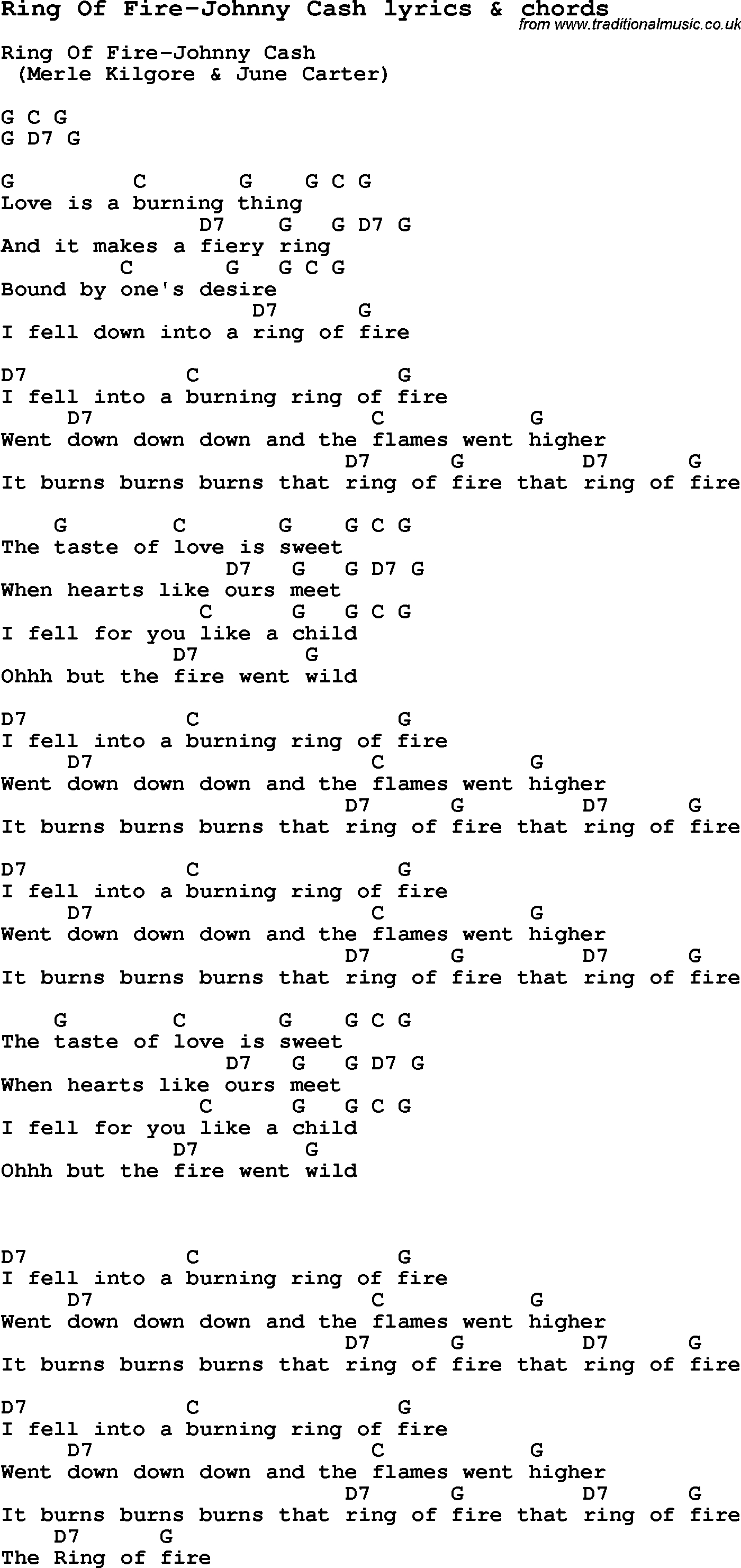 Ring Of Fire Chords Love Song Lyrics Forring Of Fire Johnny Cash With Chords