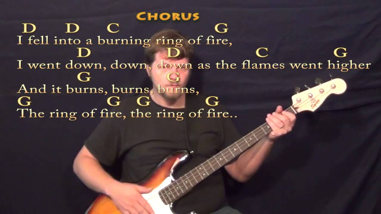 Ring Of Fire Chords Ring Of Fire Johnny Cash Bass Guitar Cover Lesson With Chordslyrics