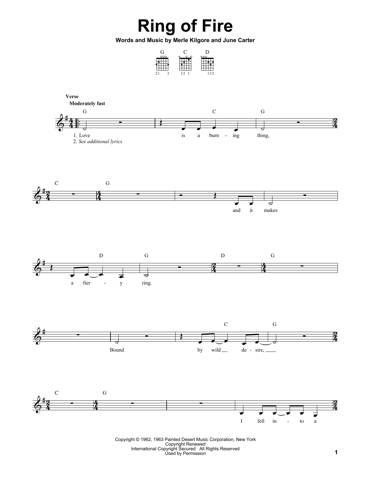 Ring Of Fire Chords Ring Of Fire Johnny Cash Piano Vocal Guitar Right Hand Melody Digital Sheet Music