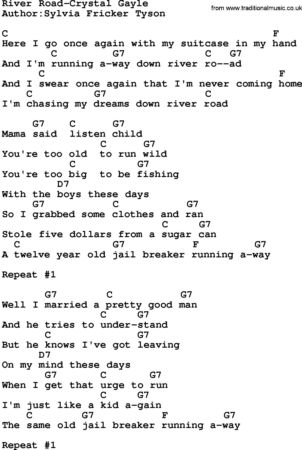 Rivers And Roads Chords Country Musicriver Road Crystal Gayle Lyrics And Chords