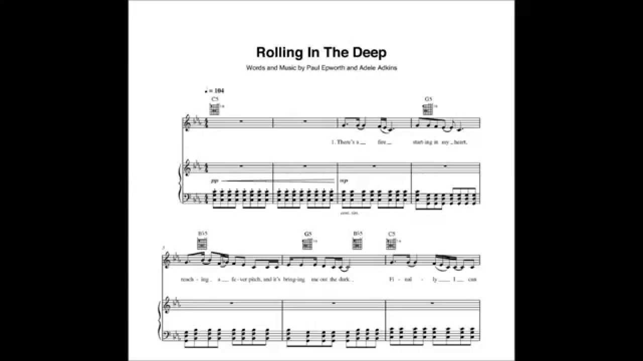 Rolling In The Deep Chords Adele Rolling In The Deep Pianovocal Chords