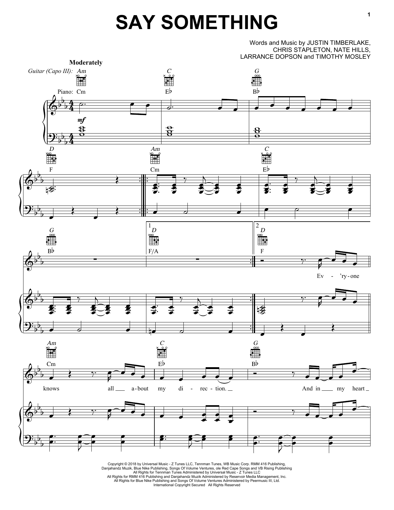 Say Something Piano Chords Justin Timberlake Say Something Feat Chris Stapleton Sheet Music Notes Chords Download Printable Piano Vocal Guitar Right Hand Melody