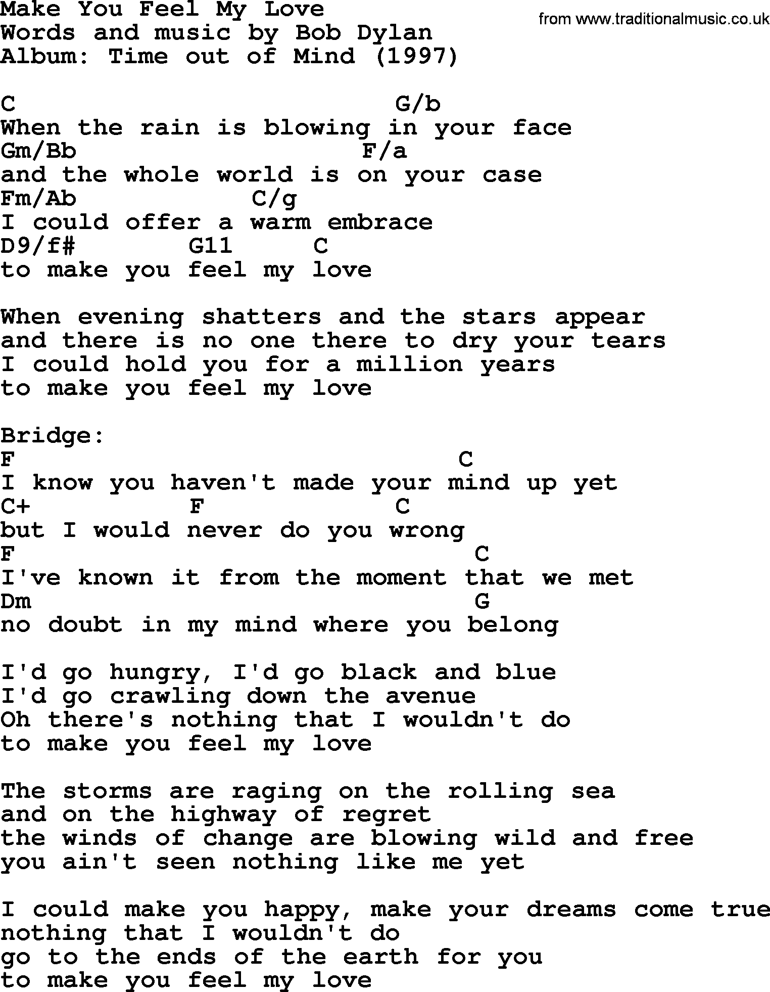Sea Of Love Chords Bob Dylan Song Make You Feel My Love Lyrics And Chords