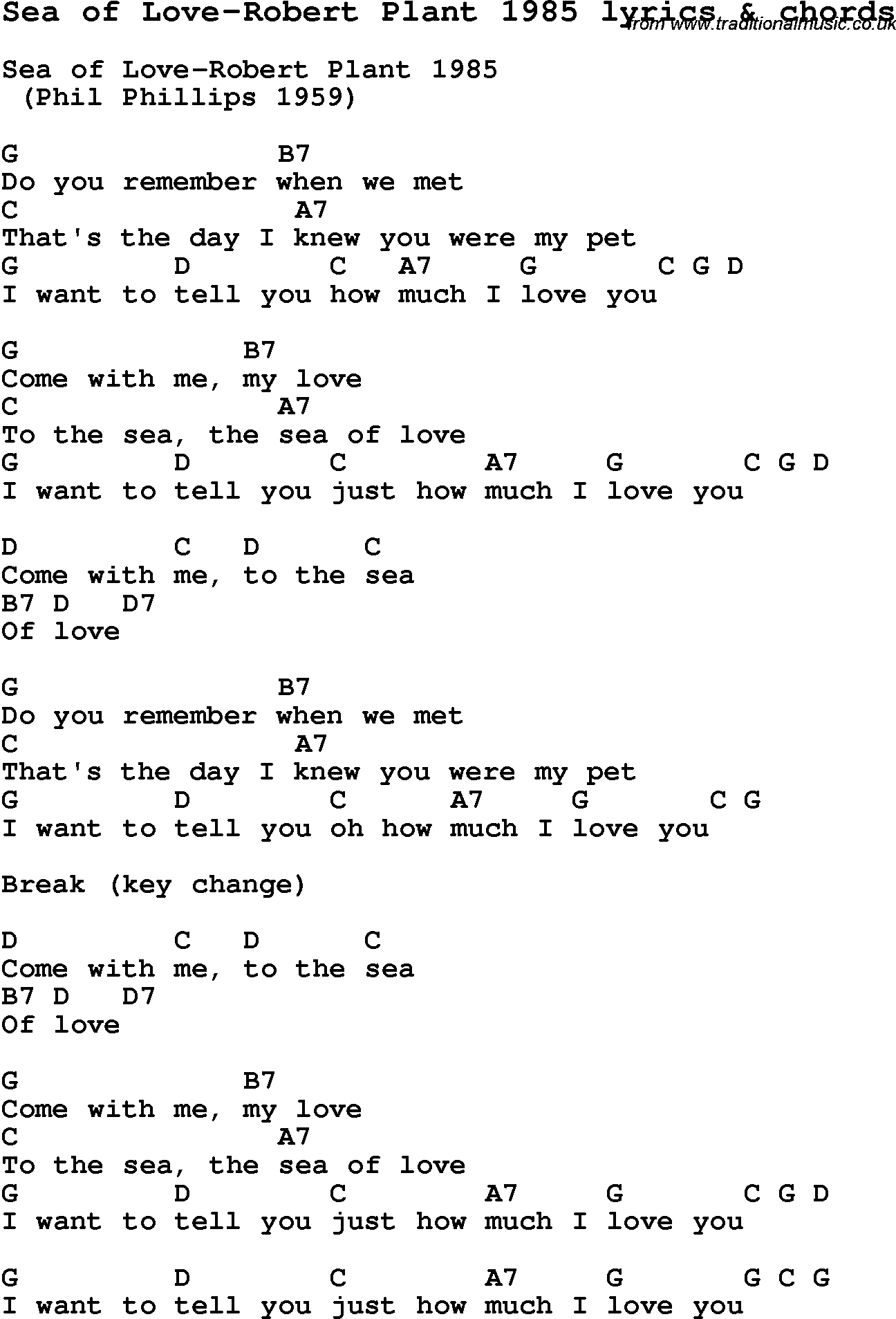 Sea Of Love Chords Love Song Lyrics Forsea Of Love Robert Plant 1985 With Chords