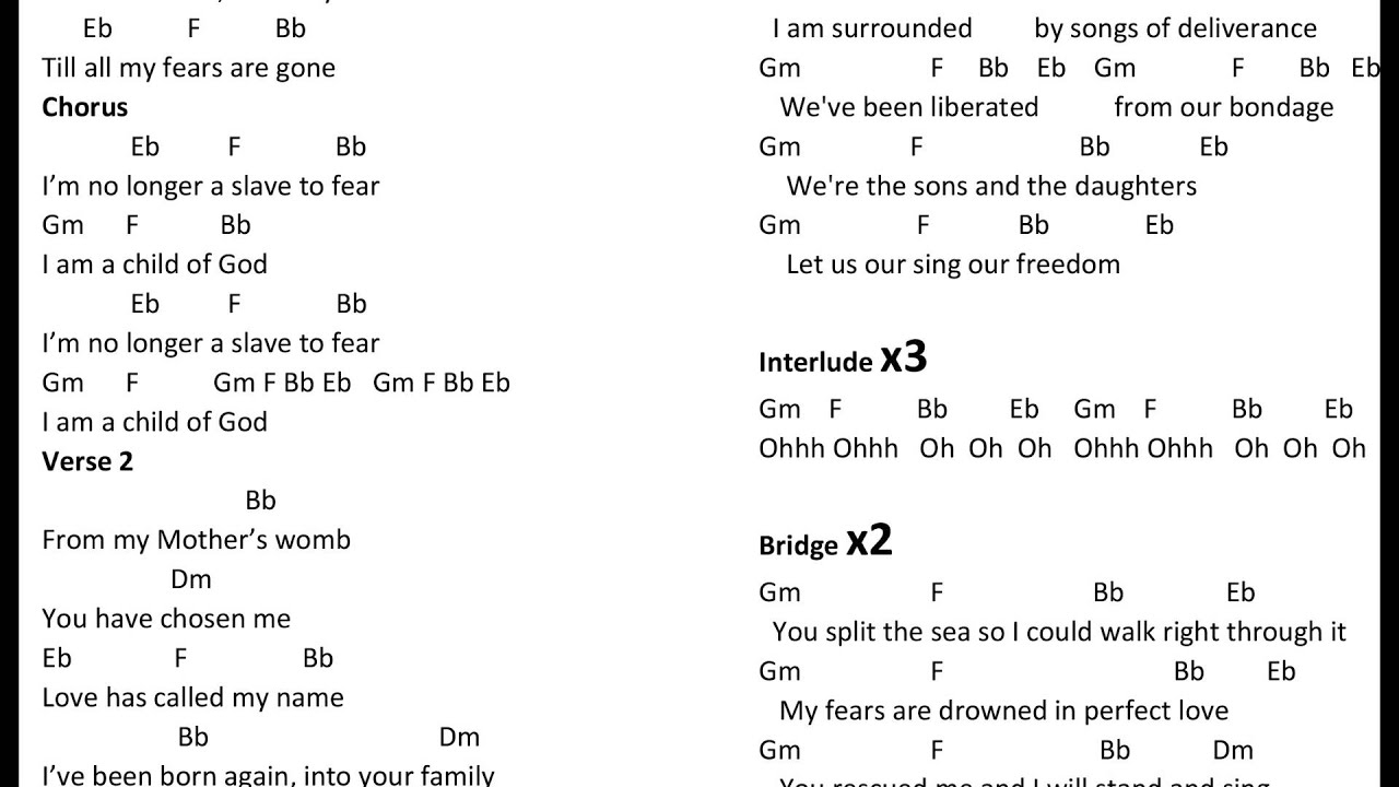 Sea Of Love Chords No Longer A Slave Bethel Music Chords