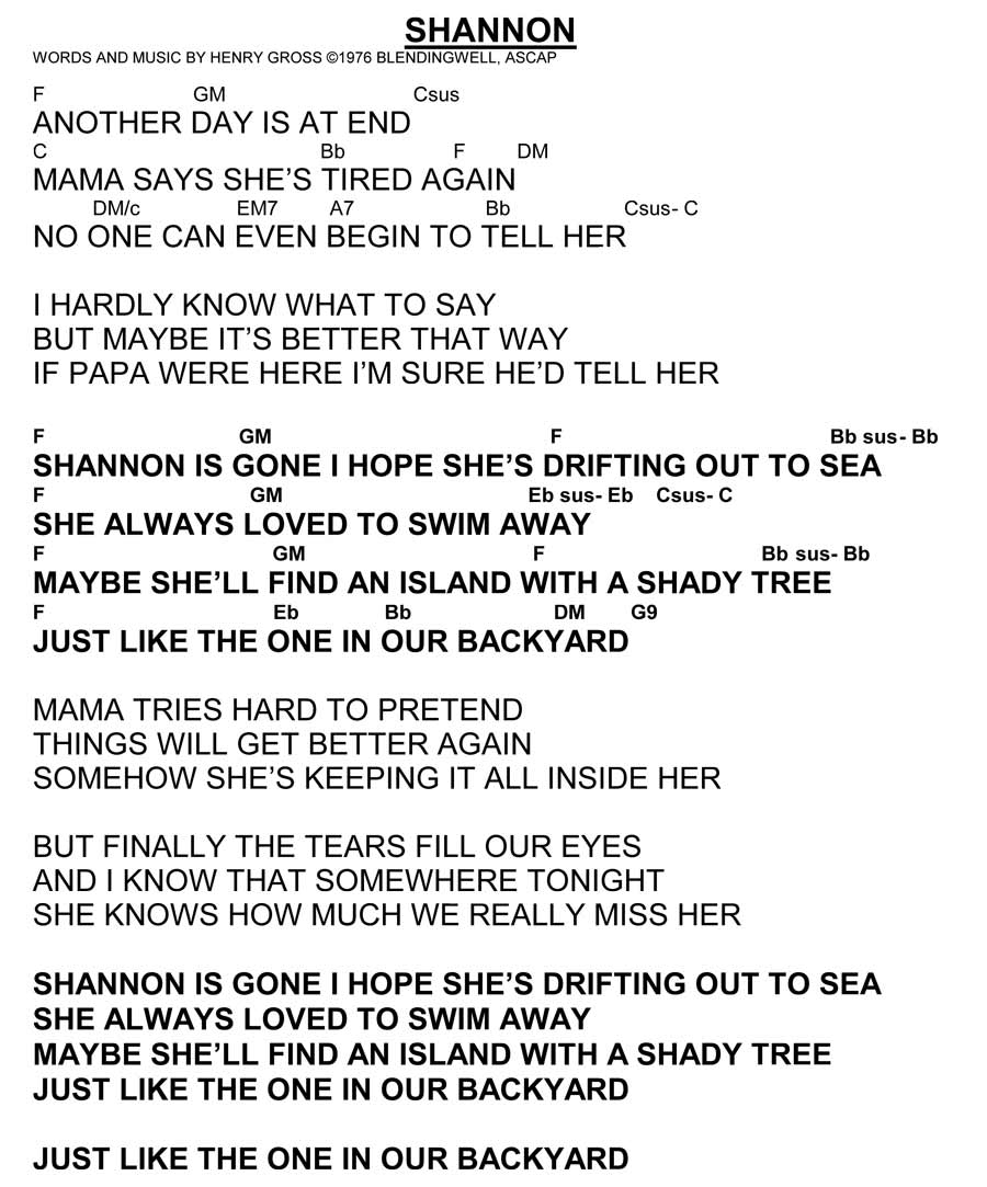 Sea Of Love Chords Shannon Lyrics With Chords Henry Gross