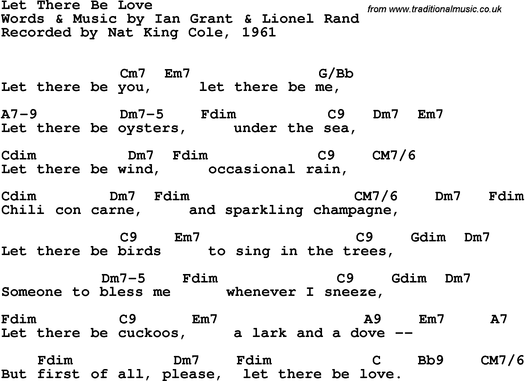 Sea Of Love Chords Song Lyrics With Guitar Chords For Let There Be Love Nat King Cole