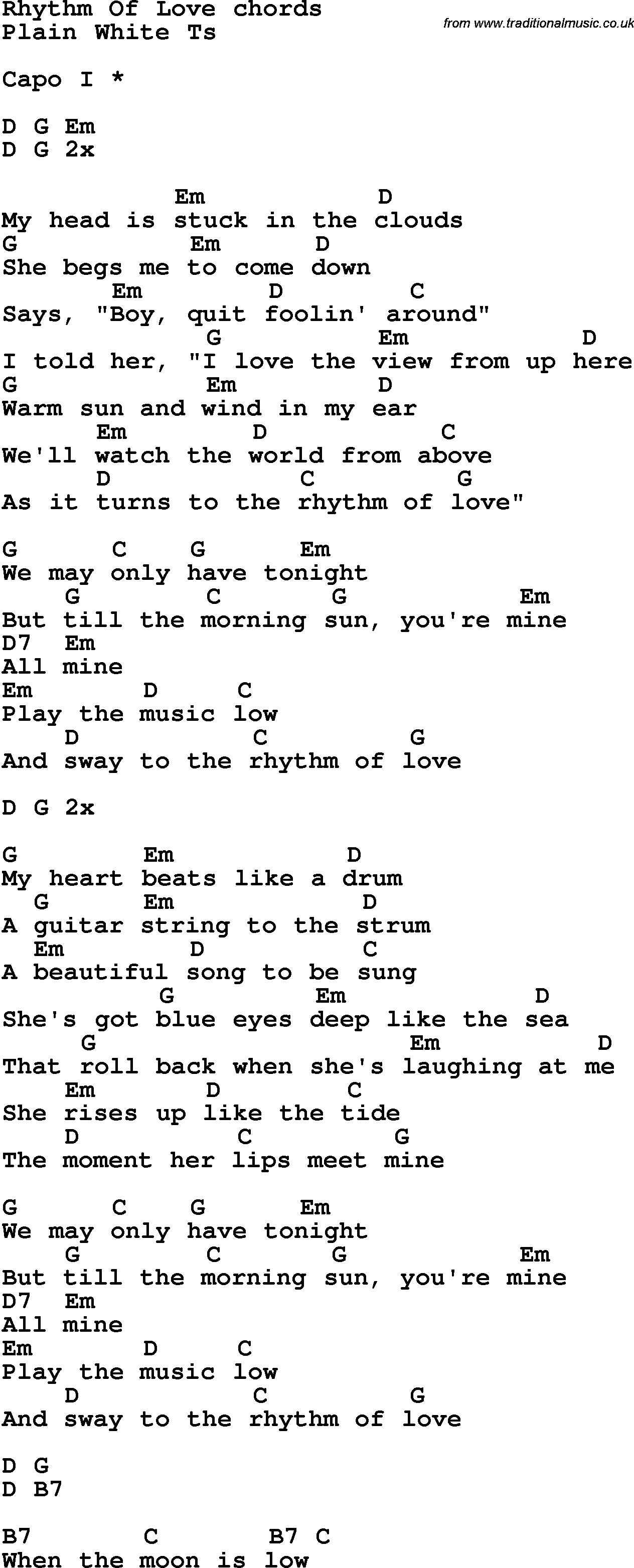Sea Of Love Chords Song Lyrics With Guitar Chords For Rhythm Of Love