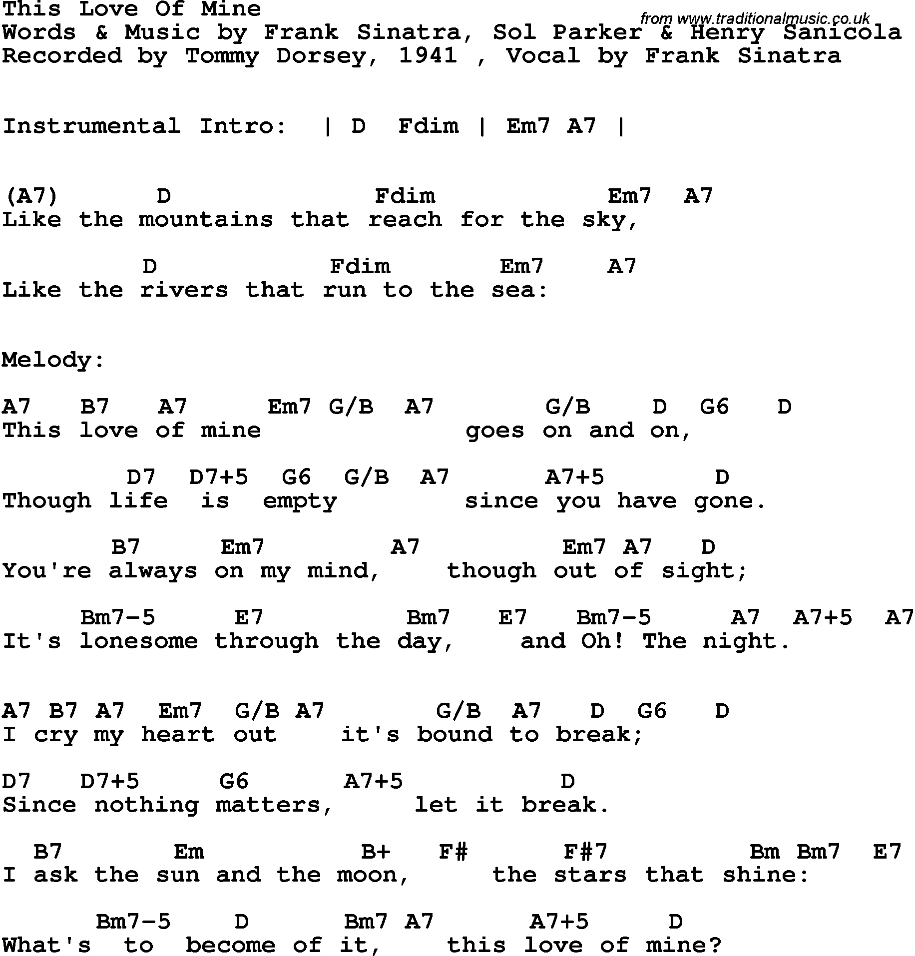 Sea Of Love Chords Song Lyrics With Guitar Chords For This Love Of Mine Tommy Dorsey