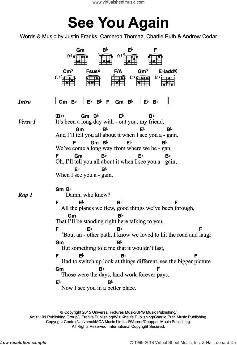 See You Again Chords Khalifa See You Again Featuring Charlie Puth Sheet Music For Guitar Chords