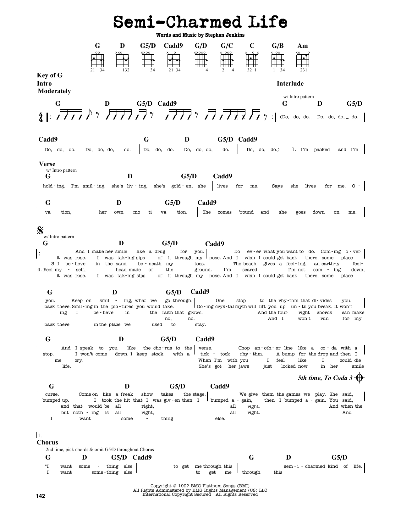 Semi Charmed Life Chords Semi Charmed Life Third Eye Blind Guitar Lead Sheet Guitar