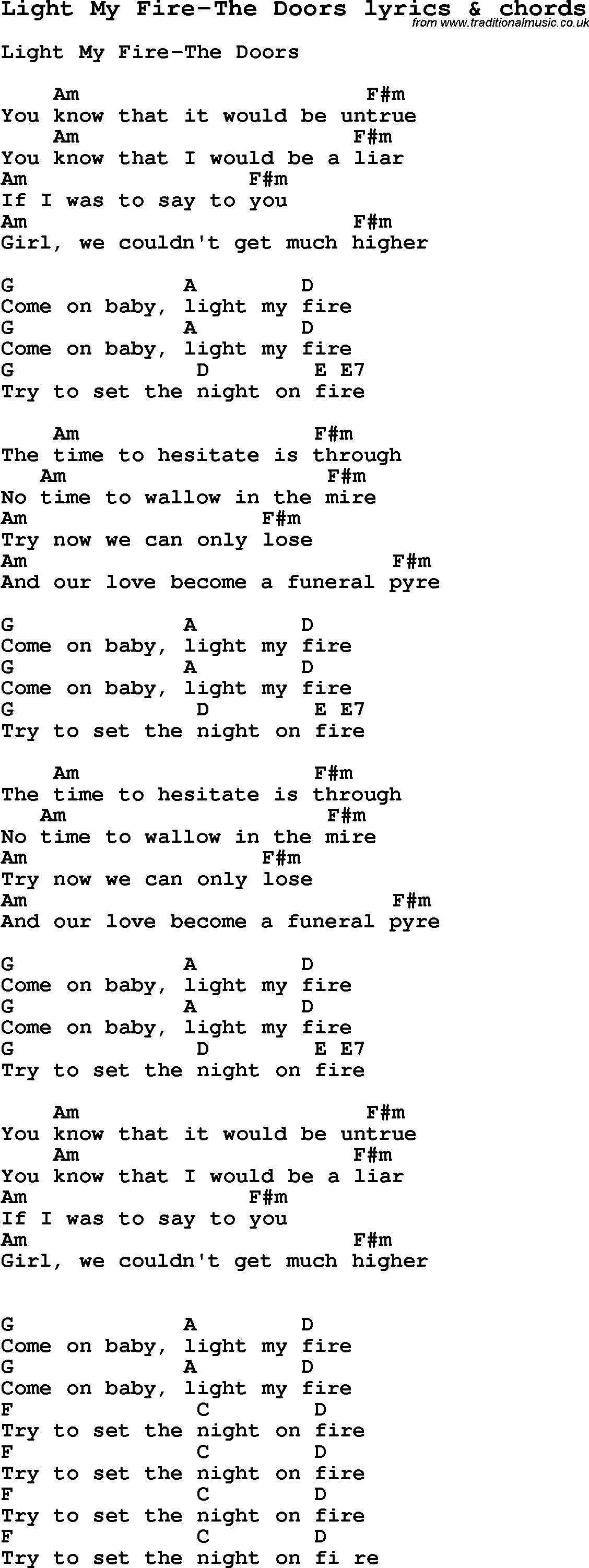 Set A Fire Chords Love Song Lyrics Forlight My Fire The Doors With Chords