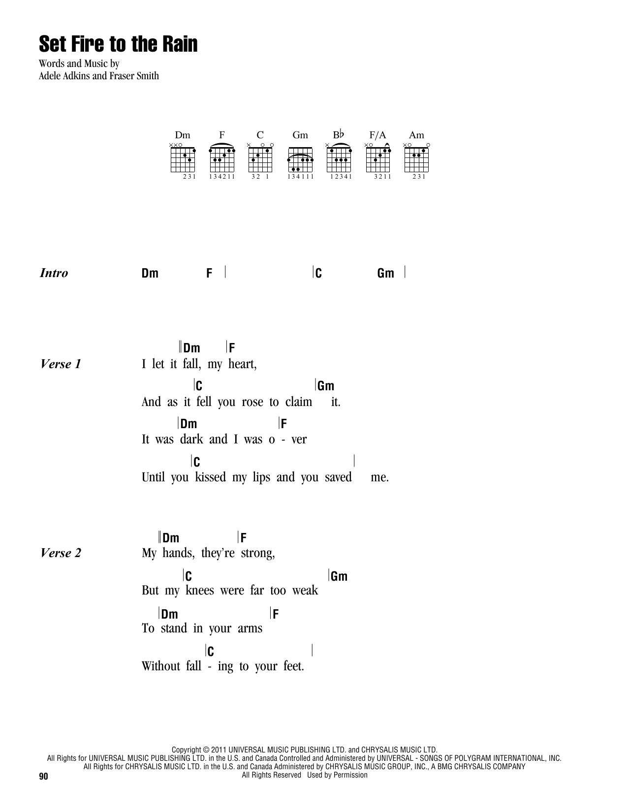 Set A Fire Chords Set Fire To The Rain Adele Piano Vocal Guitar Right Hand Melody Digital Sheet Music