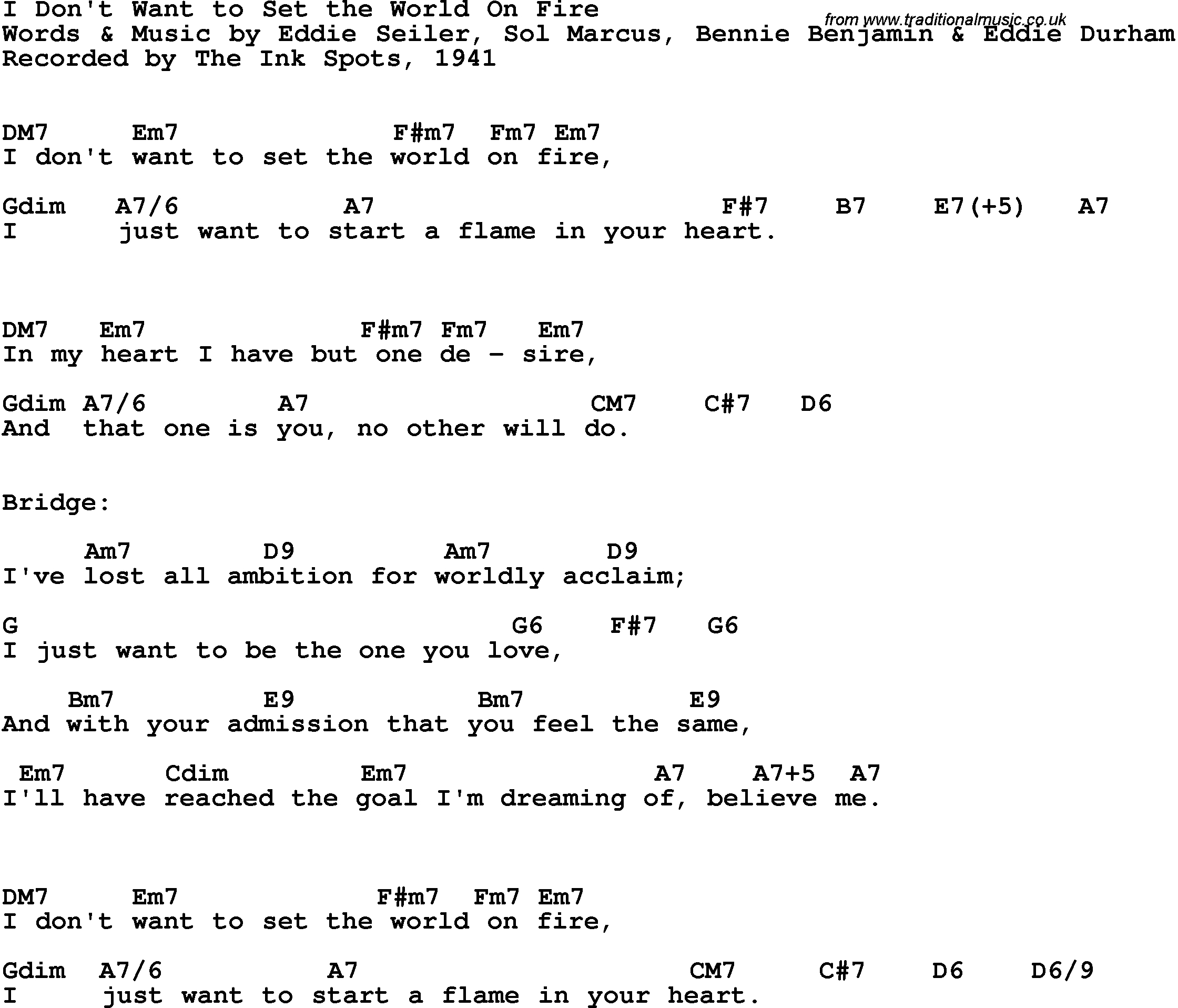 Set A Fire Chords Song Lyrics With Guitar Chords For I Dont Want To Set The World On