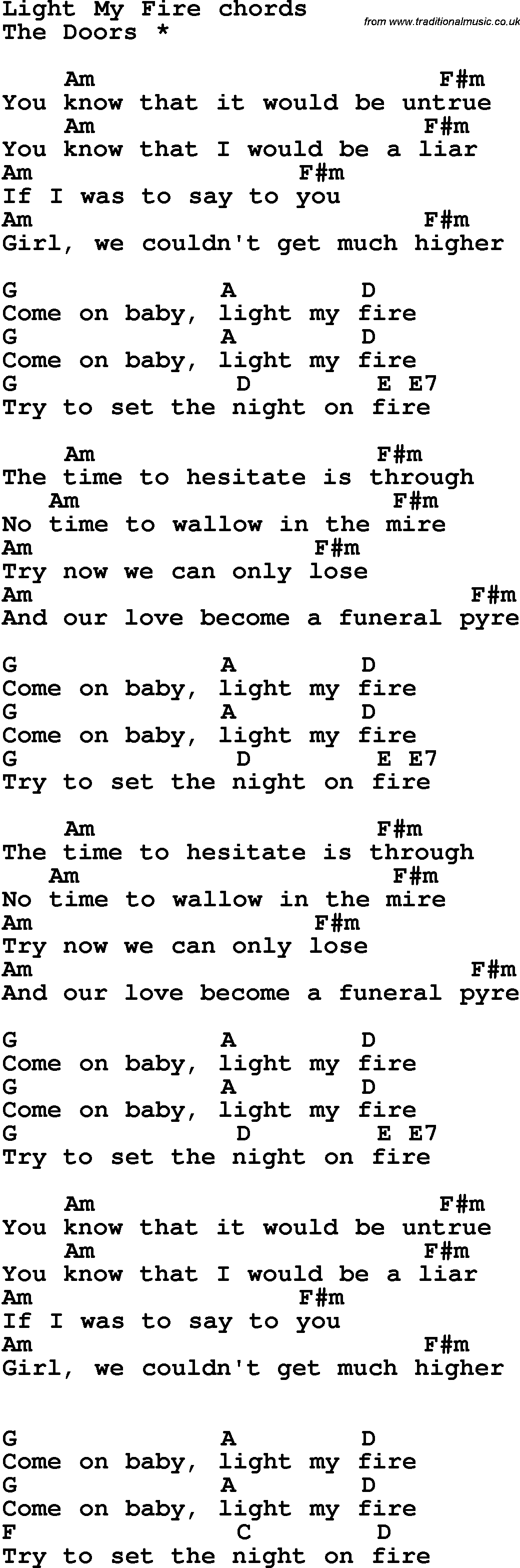 Set A Fire Chords Song Lyrics With Guitar Chords For Light My Fire