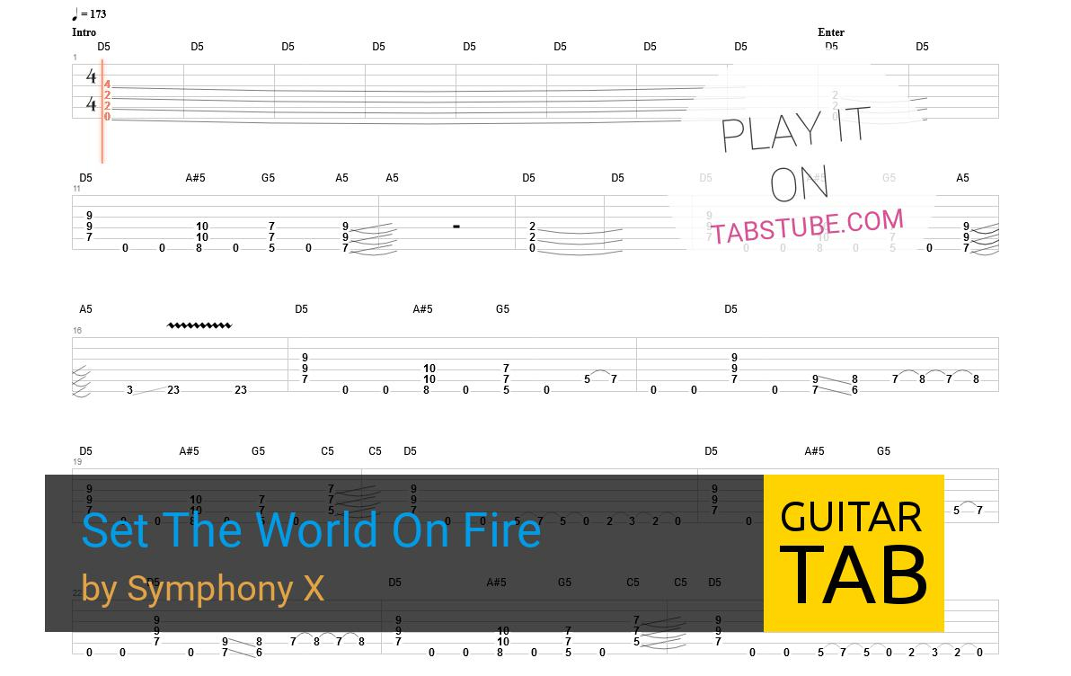 Set A Fire Chords Symphony X Set The World On Fire Guitar Tab And Chords Online