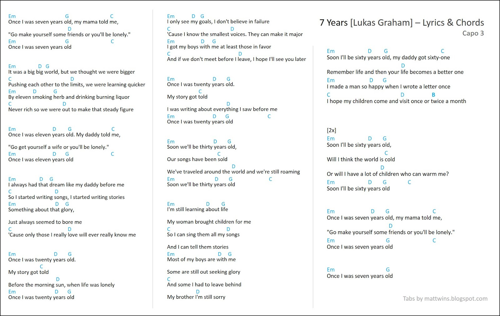 Seven Years Chords Mattwins 7 Years Lyrics Guitar Chords Lukas Graham