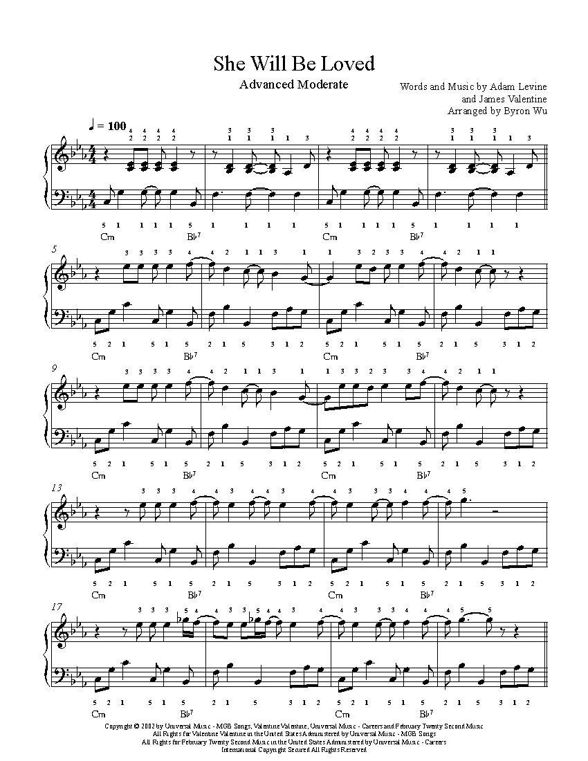 She Will Be Loved Chords She Will Be Loved Maroon 5 Piano Sheet Music Advanced Level