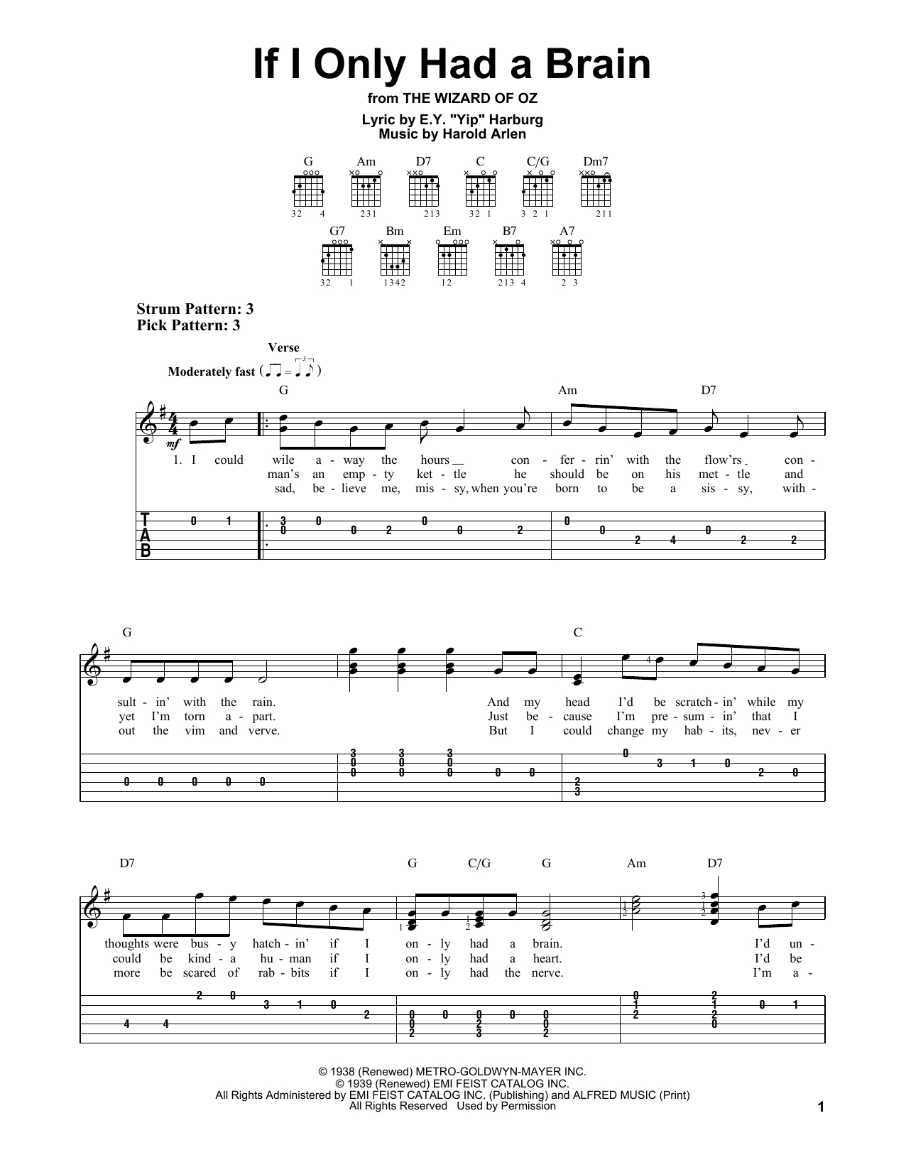 Shout To The Lord Chords If I Only Had A Brain Ey Yip Harburg Easy Guitar Tab