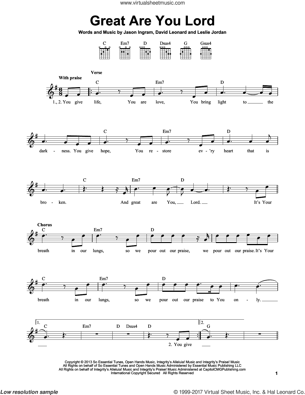 Shout To The Lord Chords Ingram Great Are You Lord Sheet Music For Guitar Solo Chords