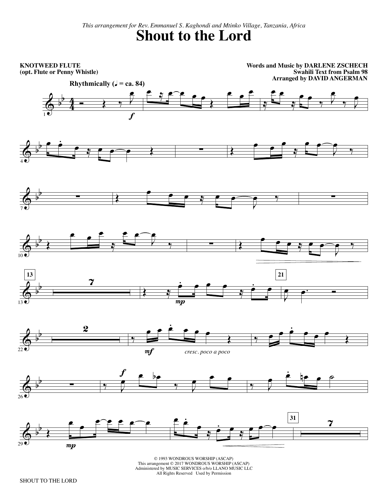 Shout To The Lord Chords Shout To The Lord Knotweed Flute Opt Flute Atstantons Sheet Music