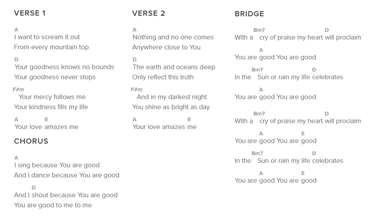 Shout To The Lord Chords You Are Good Bethel In Powerpoint Lyrics And Chords