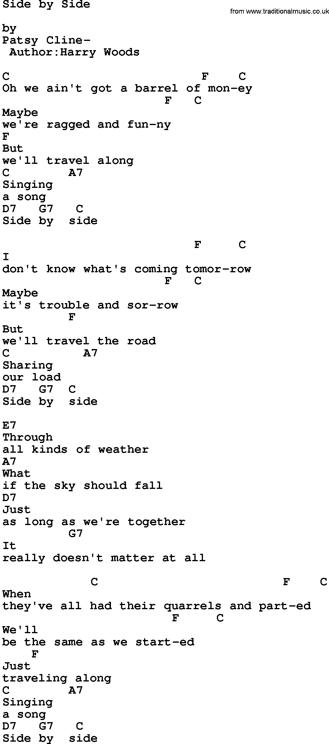 Side To Side Chords Country Musicside Side Lyrics And Chords
