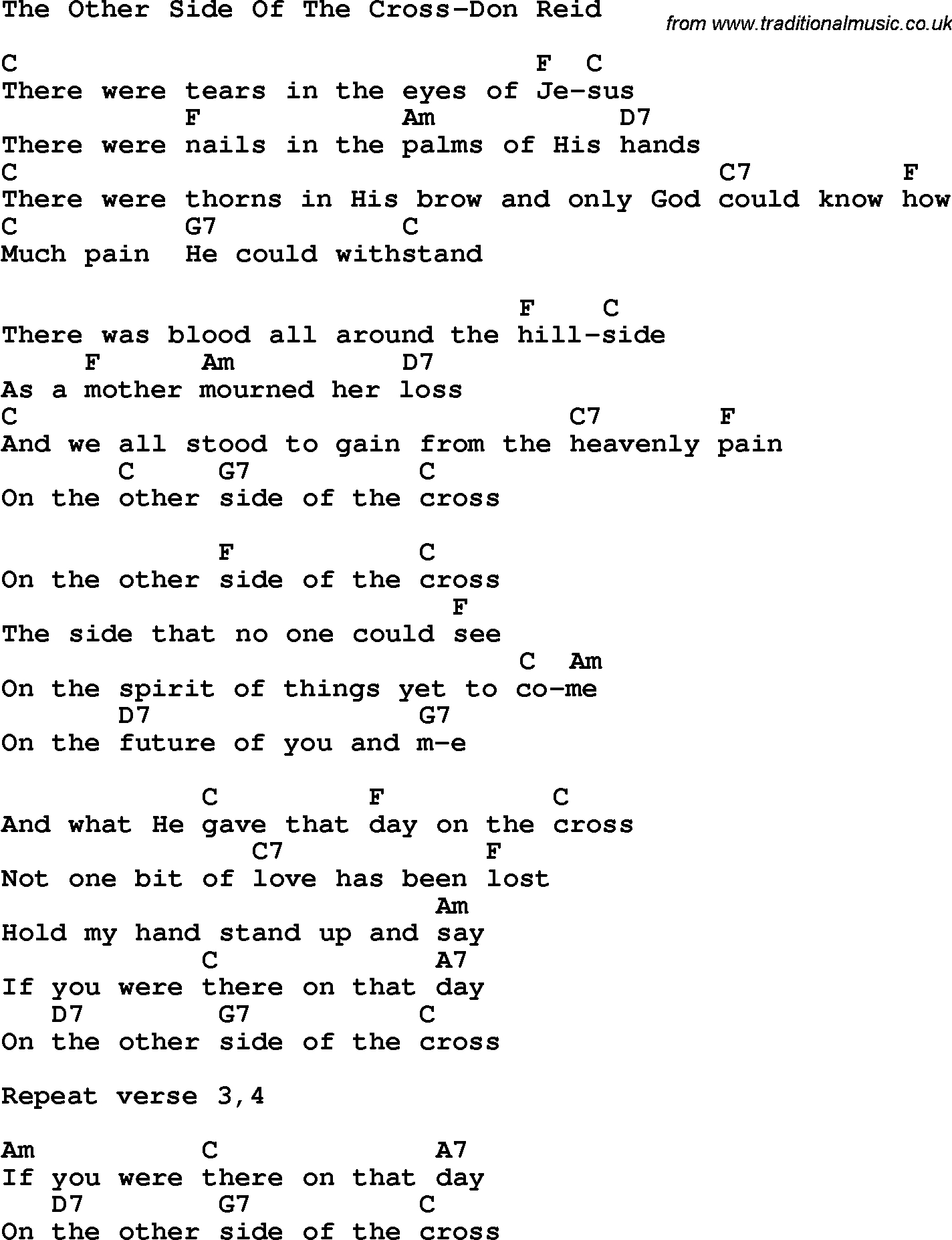 Side To Side Chords Country Southern And Bluegrass Gospel Song The Other Side Of The
