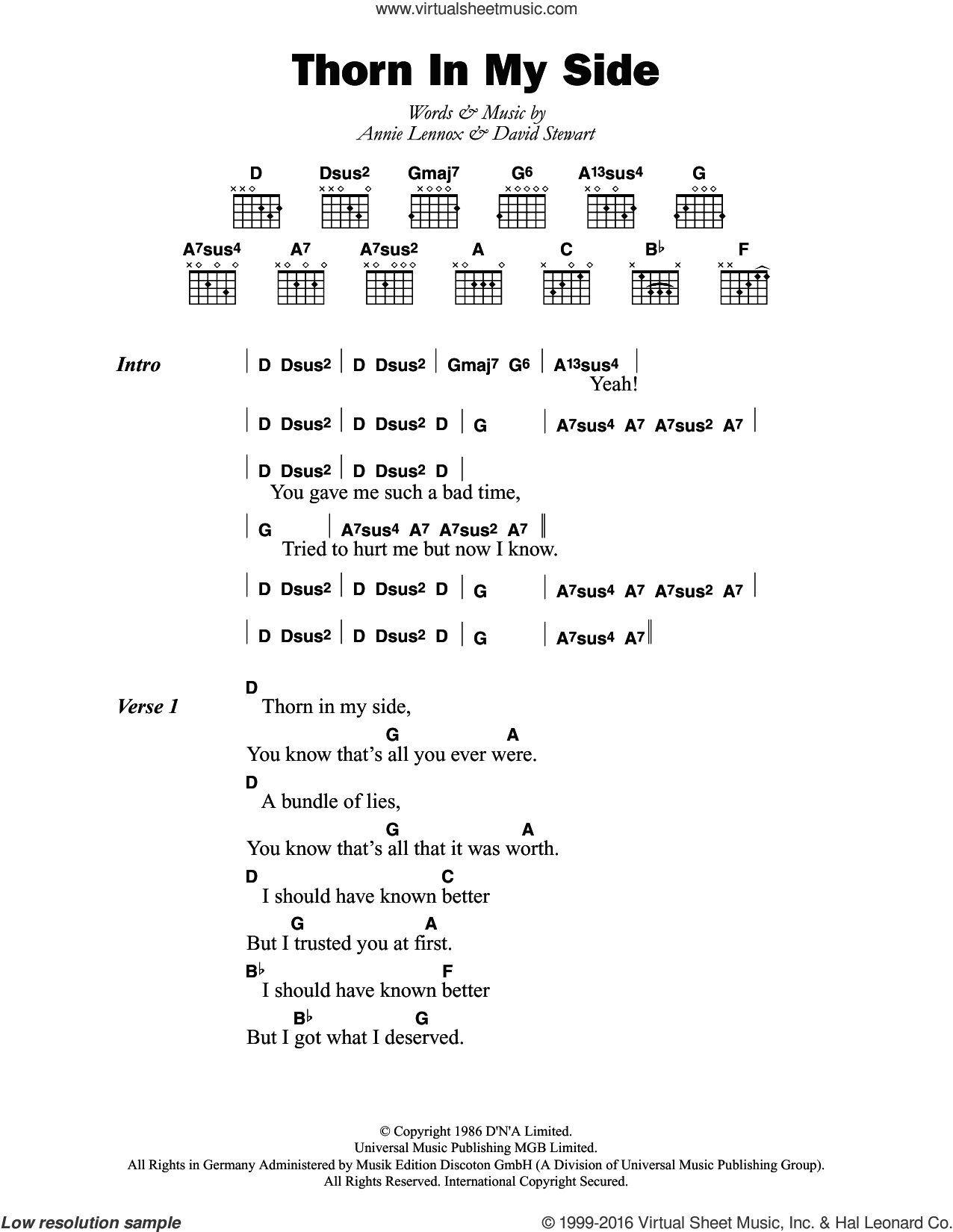 Side To Side Chords Eurythmics Thorn In My Side Sheet Music For Guitar Chords