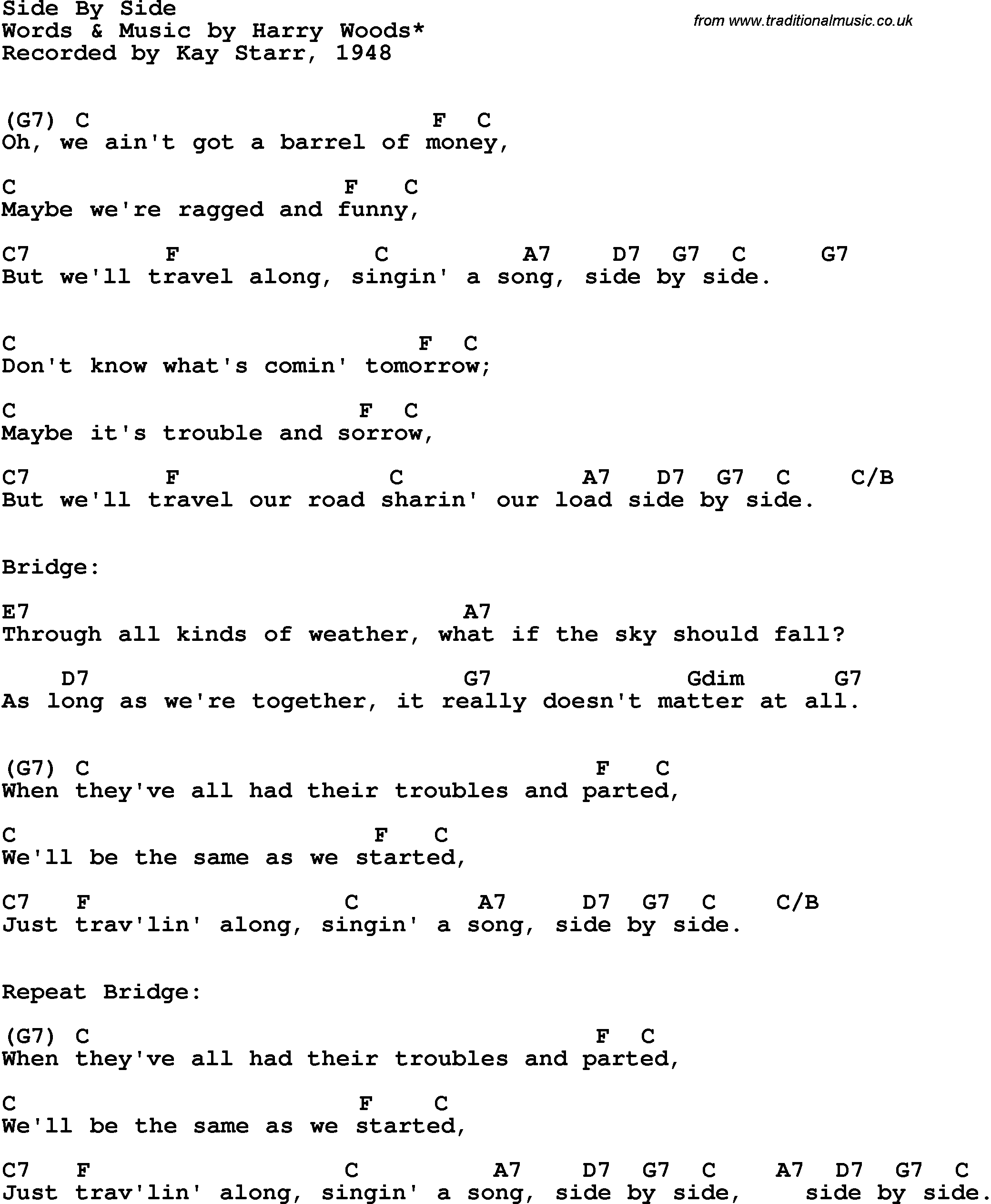 Side To Side Chords Song Lyrics With Guitar Chords For Side Side Kay Starr 1948