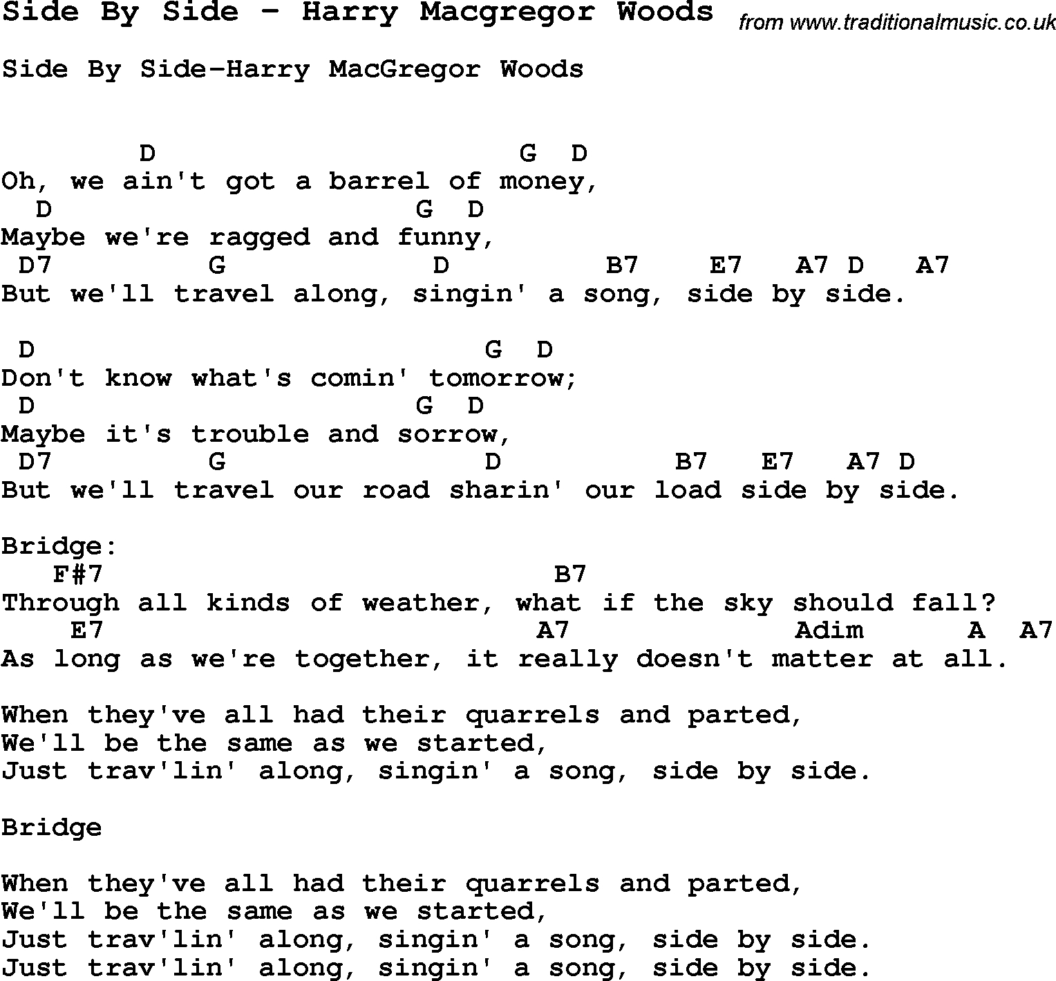 Side To Side Chords Song Side Side Harry Macgregor Woods Song Lyric For Vocal
