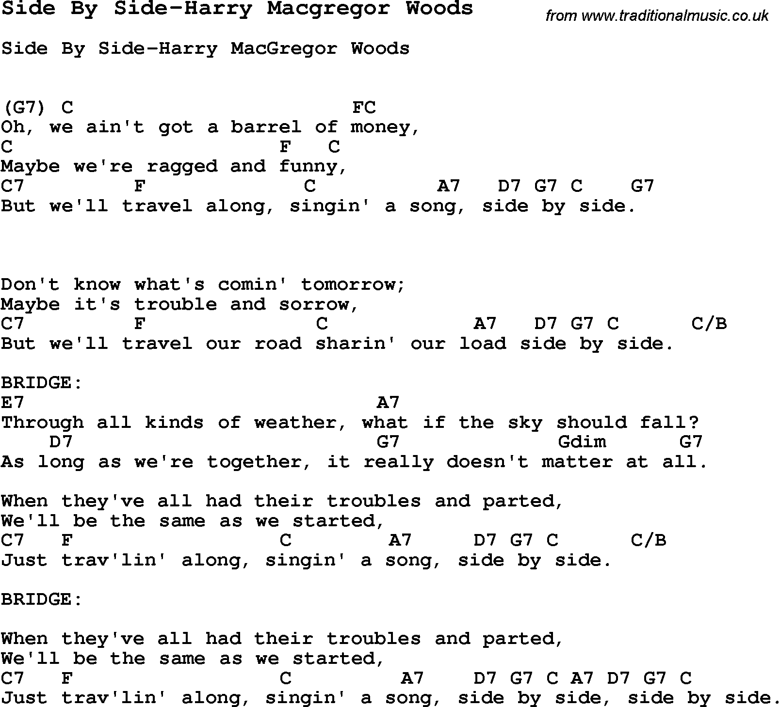 Side To Side Chords Summer Camp Song Side Side Harry Macgregor Woods With Lyrics