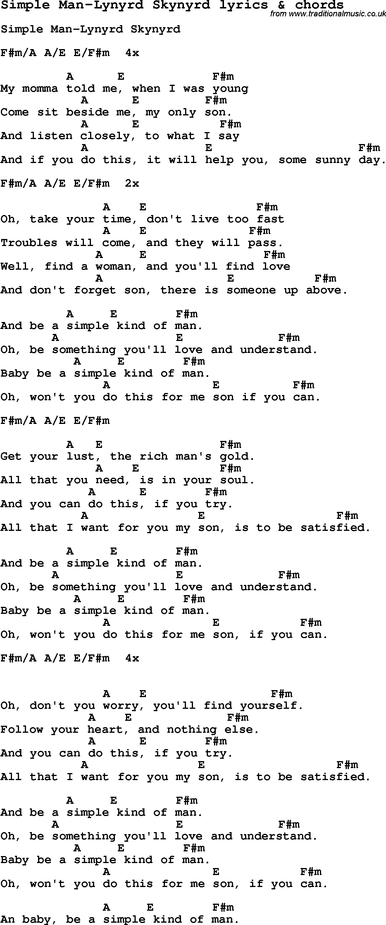 Simple Man Chords Love Song Lyrics Forsimple Man Lynyrd Skynyrd With Chords