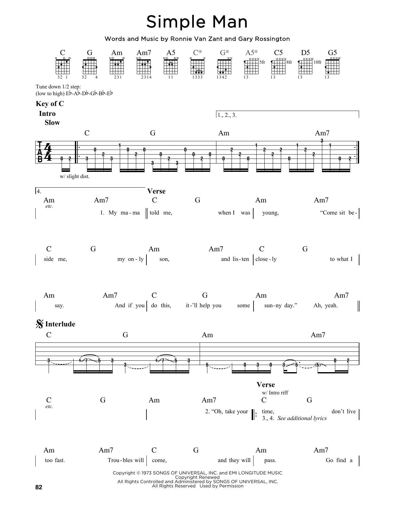 Simple Man Chords Simple Man Lynyrd Skynyrd Guitar Lead Sheet Guitar Instructor