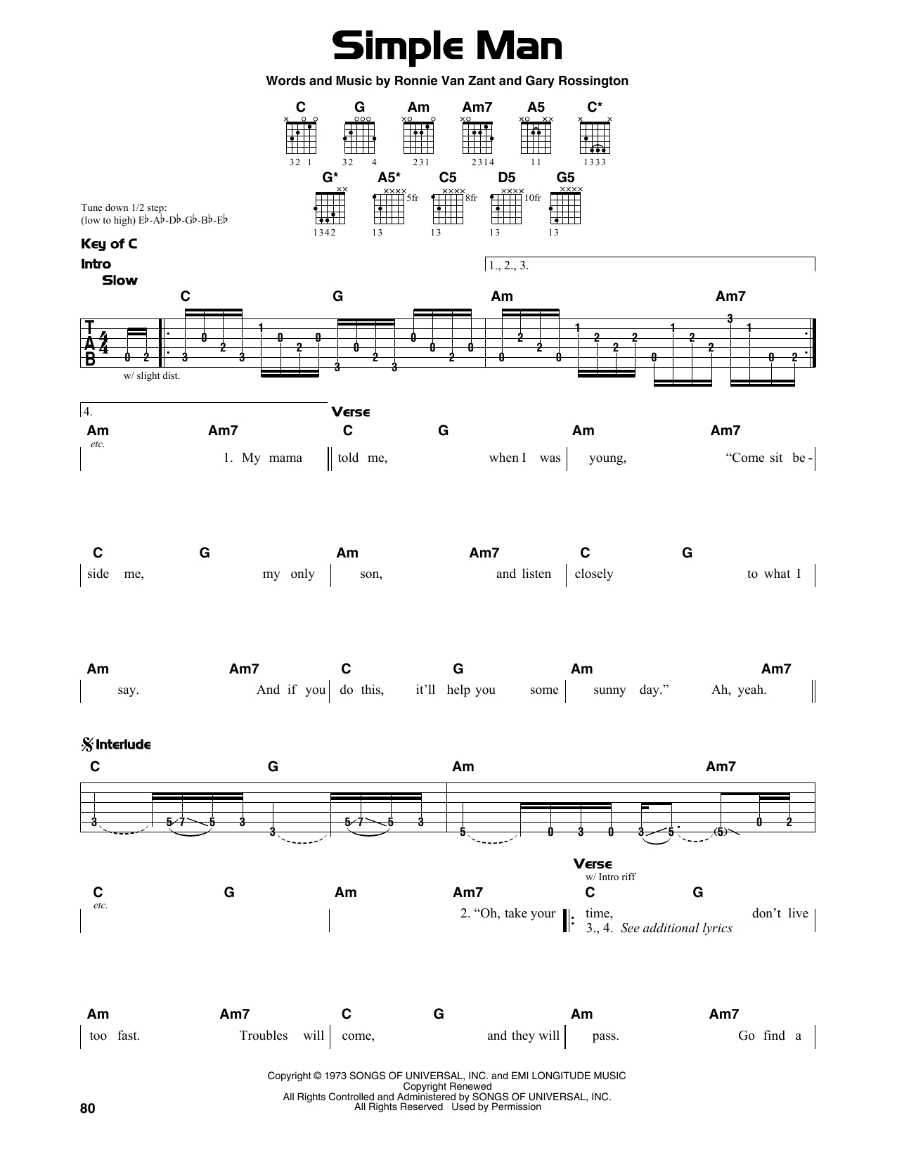 Simple Man Chords Simple Man Sheet Music To Download