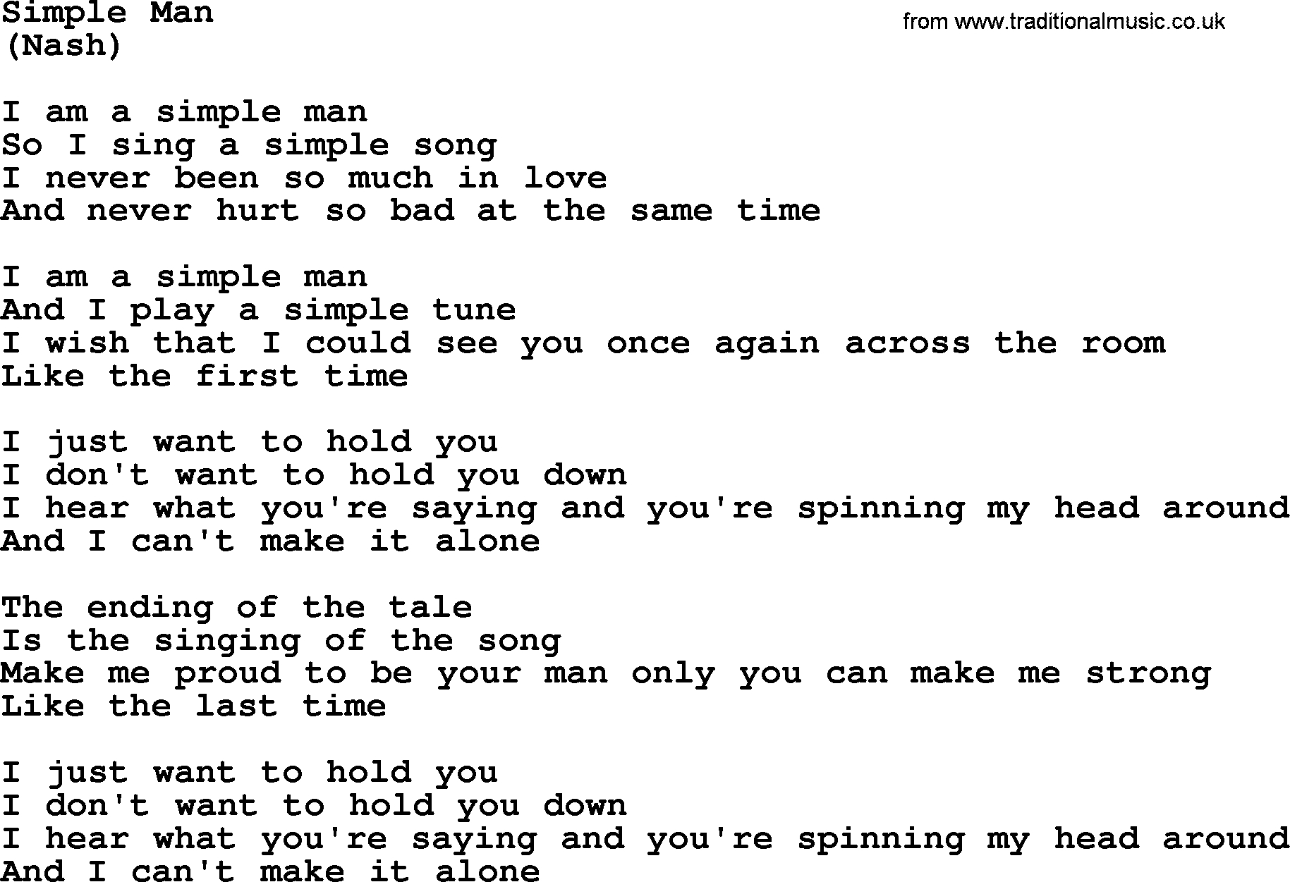 Simple Man Chords Simple Man The Rds Lyrics With Pdf