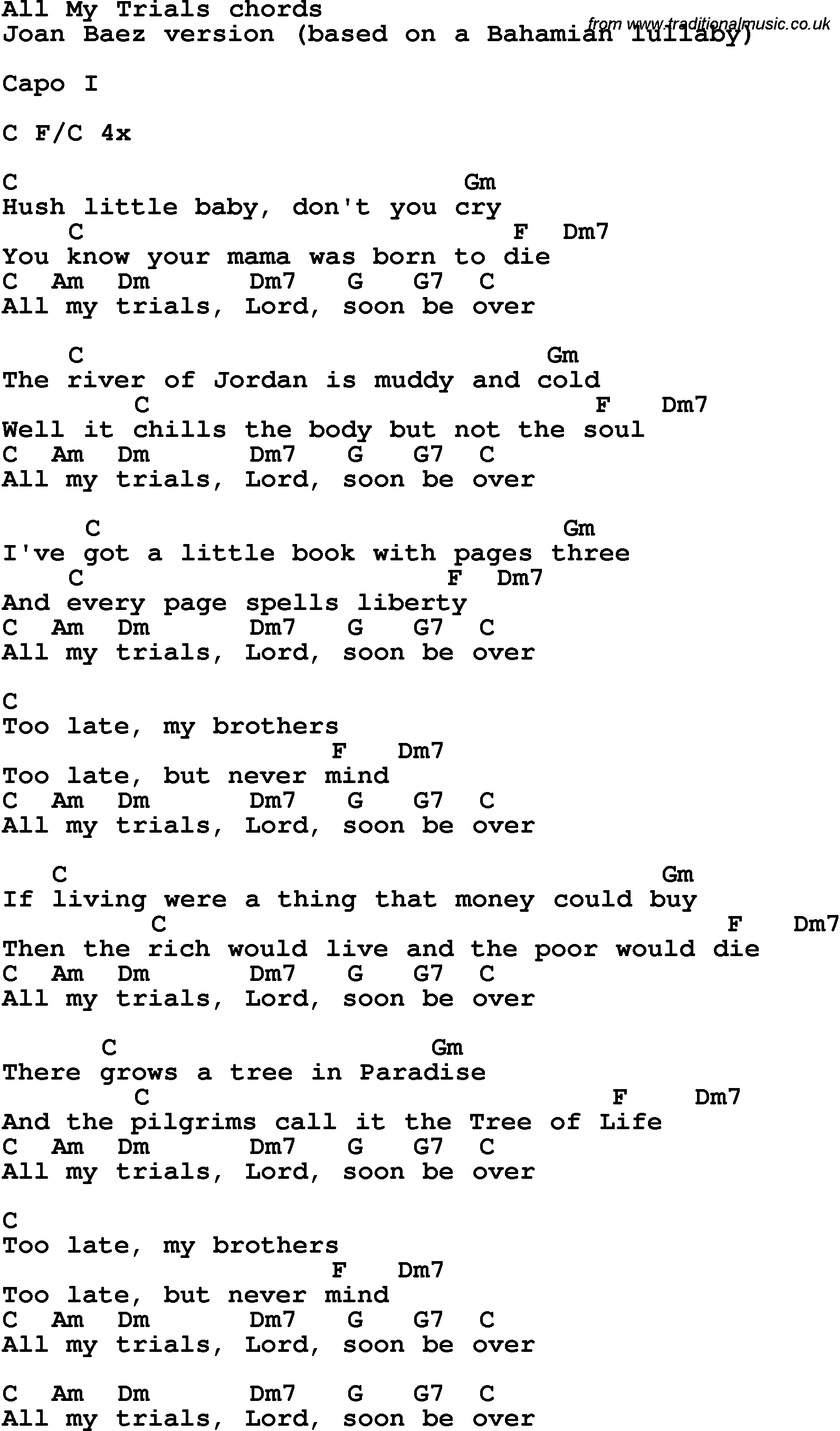 Simple Man Chords Song Lyrics With Guitar Chords For All My Trials Joan Baez