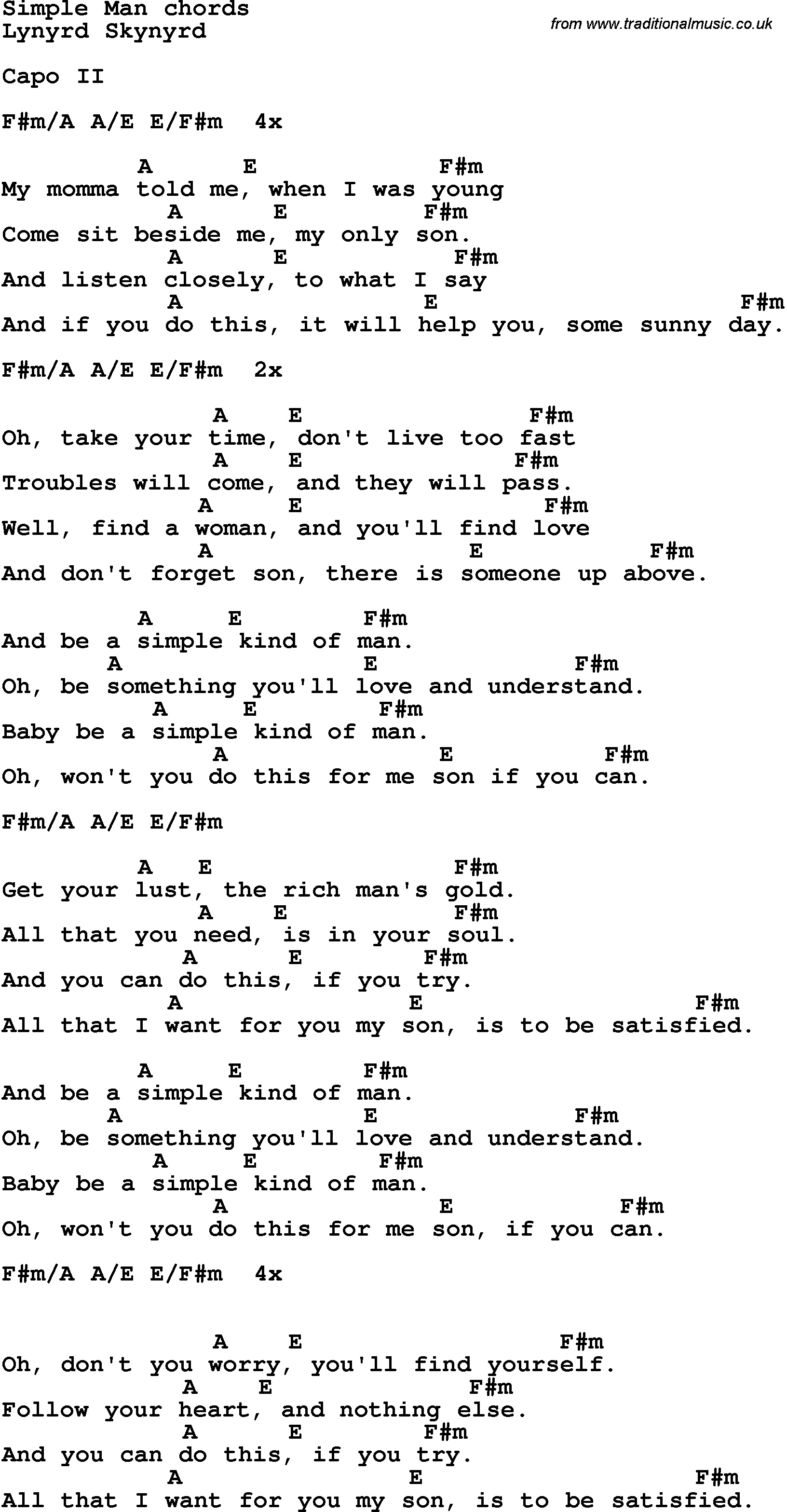 Simple Man Chords Song Lyrics With Guitar Chords For Simple Man